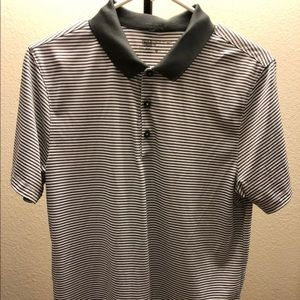 Men's Grey Striped Nike Golf Polo Shirt
